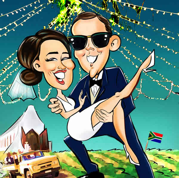 Married couple caricature