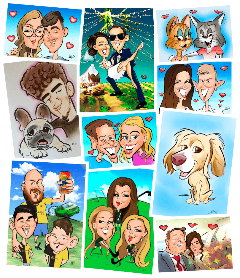 A monatge of some Caricatures Will has completed