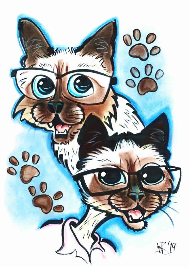 Siamese Cats In Glasses